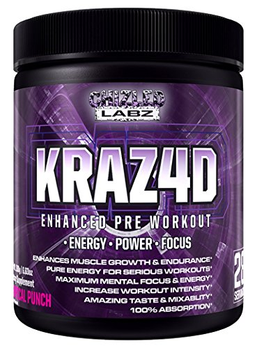 Best Pre Workout KRAZ4D Enhanced Formula for Serious Athletes. Supports Energy, Power, Focus & Muscle Growth. Also has Creatine, Zero Sugar, Great Taste & 100% Absorption. Tropical Punch (Thermogenic Energy Drink Mix compare prices)