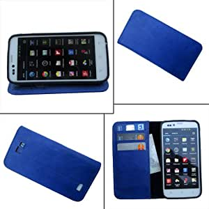 i-KitPit - PU Leather Wallet Flip Case Cover For Micromax Canvas A74 (BLUE)