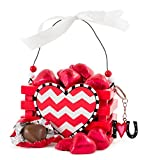 Chocolate Gift For Her, Gorgeous Red Wooden Crate Chevron With Milk Chocolate Hearts, A Stunning Gift for Your Mother!