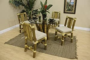 """Indoor Bamboo 5-Piece Dining Set w/ 42"""" Glass with Beveled edge by Hospitality Rattan - Natural Color Bamboo (5-PC-SET-907-D)"""