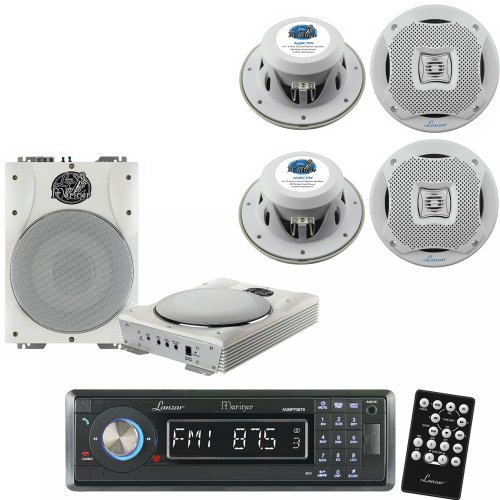 Lanzar Marine Receiver and Speaker System Package for your Boat, Pool, Deck, Patio, etc. - AQMP70BTB AM/FM-MPX In-Dash Marine Detachable Face Radio w/SD/MMC/USB Player & Bluetooth Wireless Technology - AQTB8 8'' 1000 Watts Low-Profile Super Slim Active Am