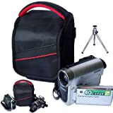 First2savvv black professional heavy duty digital camcorder carrying case bag for Toshiba CAMILEO X400 CAMILEO X200 CAMILEO X150 CAMILEO Z100 with mini tripod