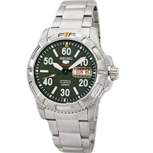 Seiko Men's SRP215 Stainless Steel Analog with Green Dial Watch
