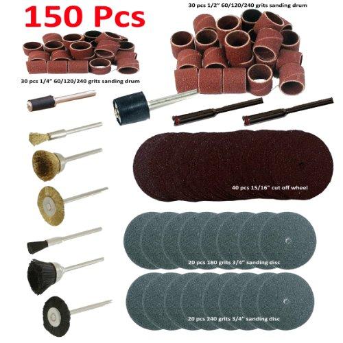 "150 Pcs Rotary Power Tool Accessory Kits Set Suit For Dremel 3000 4000 8220-2/28 395 7700-1/15 4000 3/34 Chicago Electric, Milwaukeen Nextec 1/8"" Shank Hobbyy Clean Polish Sanding Drum Brass Nylon Wheel"