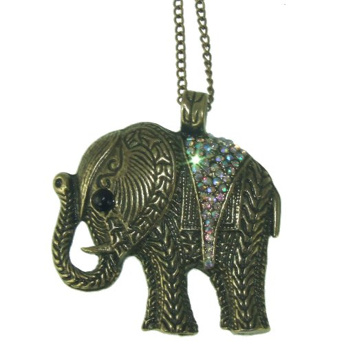 Stone River Jewellery Vintage Bronze Tone Crystal AB Lucky Charm Elephant Necklace Pendant with long chain