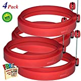 NEW Chef Silicone Egg Ring- Pancake Breakfast Sandwiches - Benedict Eggs - Omelets and More Nonstick Mold Ring Round, Red (4-pack)