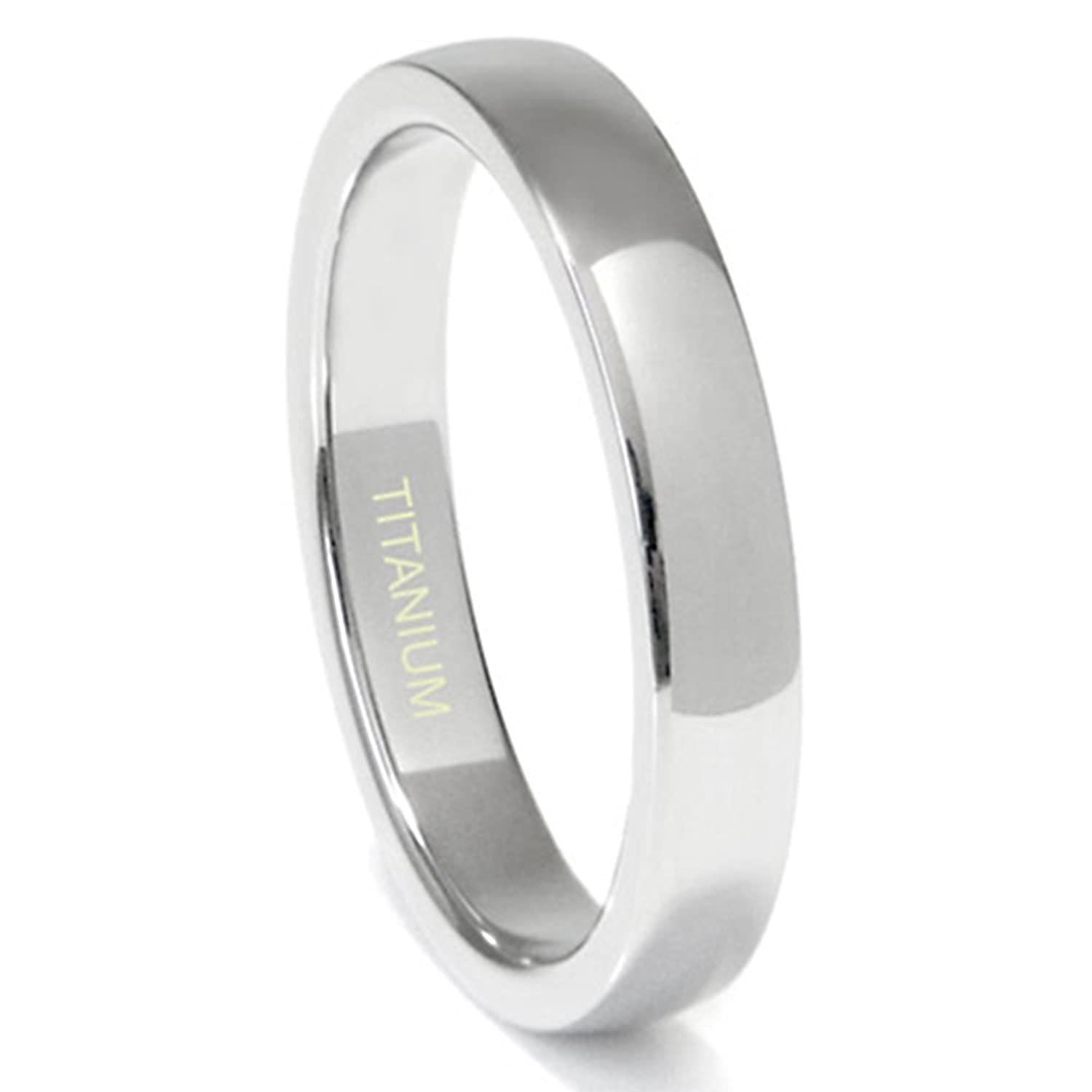 Titanium 4MM High Polish Plain Dome Wedding Band Ring (Sizes 6 to 13.5)