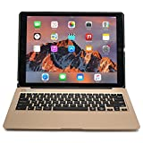 iPad Pro 12.9 keyboard case, [NEW] COOPER KAI SKEL Backlit Aluminum Bluetooth Wireless Keyboard Macbook Clamshell Case Cover with Rechargeable Battery Power Bank for Apple iPad Pro 12.9 inch (Gold)