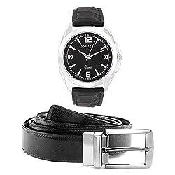 Laurels Men's Belt And Watch Combo (Black,Brown) (DIP-302 BT-01)