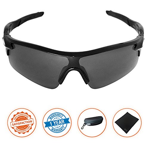 J+S Active PLUS Cycling Outdoor Sports Athlete's Sunglasses, 100% UV protection (Black Frame / Black Lens) (Sun Glasses Outdoor Sports compare prices)