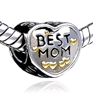 Heart Best Mom Charm Beads Fit Pandora Charms & Beads