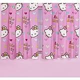 キッズ・子供用 ガールズ ハローキティ 子供部屋 寝室 カーテンセット (2枚入) 女の子 (168cm x 137cm) (ピンク)