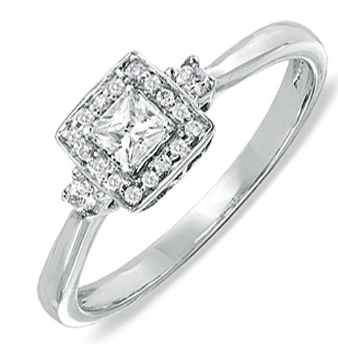 0.58 Carat Diamond Engagement Ring with Princess cut Diamond on 18K White gold