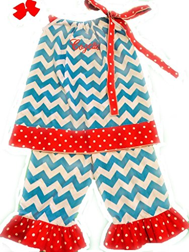 Cozy Bug Little Girls' Monogrammed Chevron Ruffle Pants Set 3T/4T Aqua, Red, White back-1023270