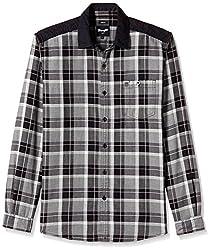 Wrangler Men's Casual Shirt (8907222643904_W1480794501Z_Small_Black)