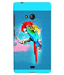 PrintVisa Birds Parrot Colorful 3D Hard Polycarbonate Designer Back Case Cover for Nokia Lumia 540