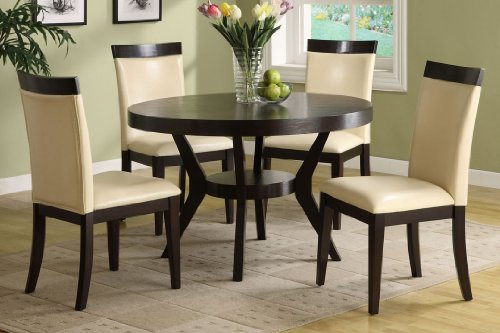 Cool NEW Downtown Espresso Pieces Round Dining Table Set Chairs