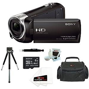 Sony HDR-CX240 HDRCX240B HDRCX240/B Full HD Handycam Camcorder + Sony 8GB Class 10 Micro SDHC R40 Memory Card + Vivitar Coco Series Small Gadget Camera Bag + Accessory Kit