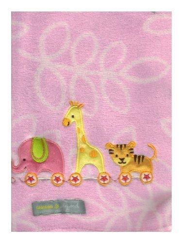 Elephant, Tiger & Giraffe 'Pink' Baby Blanket By Blankets & Beyond