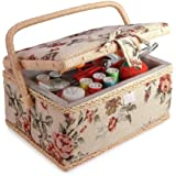 Classic Fabric Floral Design Sewing Basket with Sewing Kit Accessories