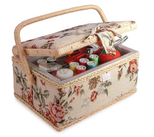 Classic Fabric Floral Design Sewing Basket with Sewing