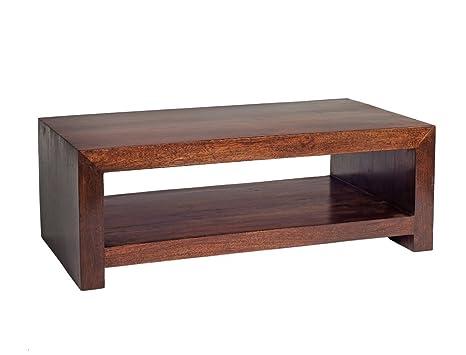 Electra Design Dallas Dark Mango Dark Wood Grain/Natural Finish/Handcrafted Contemporary Coffee Table, 110 x 60 x 40 cm, Deep Walnut