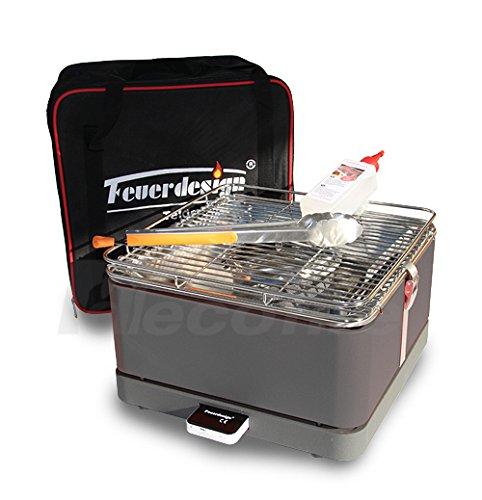 Holzkohle Tischgrill TEIDE – Rauchfrei – v. Feuerdesign – Grau, im Spar Pack mit Grill-Zubehör jetzt bestellen