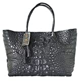 Authentic M Crocodile Skin Womens Hornback Leather Bag Tote Hobo Huge W/Tuft Black Handbag
