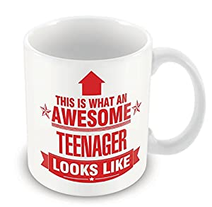 RED This is what an AWESOME Teenager Looks like CERAMIC Mug Gift idea work