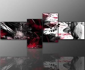 4 teiliges Wandbild (abstrakt_grunge_4teilig-55x155cm) Bild auf Leinwand und Keilrahmen, der aktuelle Deko Trend 2013! Modern Art Pics in hoher Qualität als original Kunstdruck - Picture Style Motiv (Abstrakt schwarz rot weiss) Foto als Bild. Ein Blickfang der neuen Generation für Jung & Alt.
