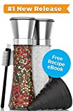 Stainless Steel Salt and Pepper Grinder Set - Best Tall Adjustable Coarseness Grinders - HUGE 6.3 ounce Capacity Mills - FREE Collapsible No-Mess Funnel PLUS Cleaning Brush and Recipe eBook
