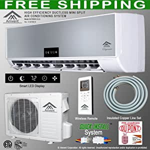 Amvent 12000 btu 1 ton ductless wall mount for Small 1 room air conditioner