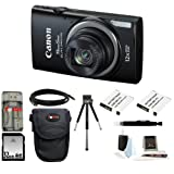 Canon PowerShot ELPH 340 HS (Black) + 32GB Memory Card + All in One High Speed Card Reader + Two Extra Batteries + Medium Standard Digital Camera Case + Accessory Kit