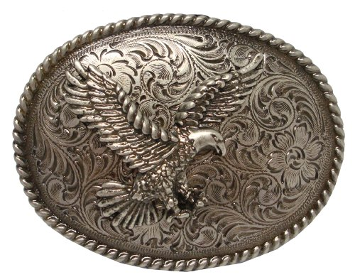Antique Silver Nickel Finish American Eagle Western Belt Buckle