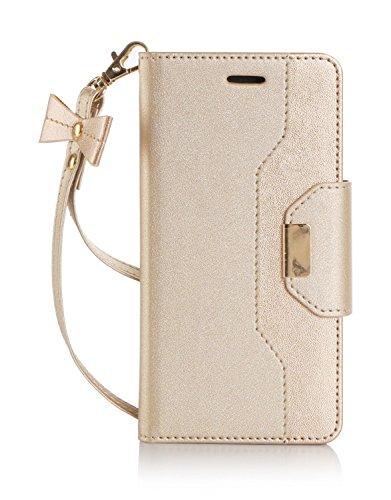 iPhone7 ケース,iPhone7 カバー【ELTD】iPhone 7 上質ケース+財布一体型 プレミアムレザー 可愛い手帳型ケース 財布/カードスロット&スタンド機能 ストラップ付き 横置き 携帯電話に全面保護型ケース (iphone7,ゴールド)