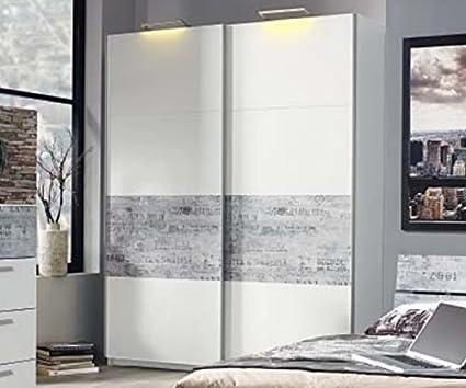 A0336.48B4 Sumatra weiß/Vintage grau Schwebeturenschrank Schiebeturenschrank Kleiderschrank ca. 136 cm Rauch