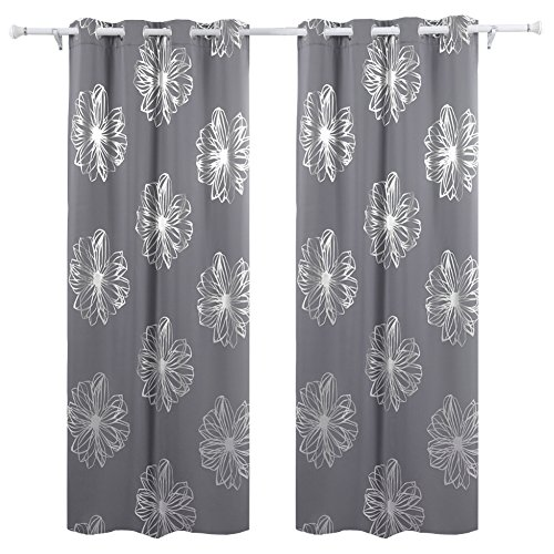 "Deconovo Fashion Light Grey Flower Foil Printed Thermal Insulated Bedroom Blackout Grommet Curtain 52""W x 95""L - 1 Pair"
