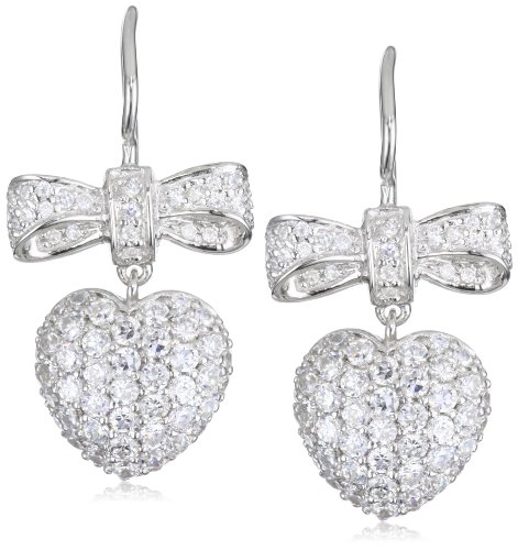Giorgio Martello Sterling Silver Rhodium Plated Ribbon and Heart Earrings