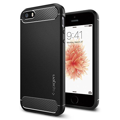 【Spigen】 iPhone SE ケース, ラギッド・アーマー [ 米軍MIL規格取得 落下 衝撃 吸収 ] アイフォン se / 5s / 5 用 TPU カバー (ブラック)