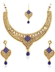 Rich Lady Exclusive Blue Stone Pearl Gold Finishing Necklace Set With Maang Tikka