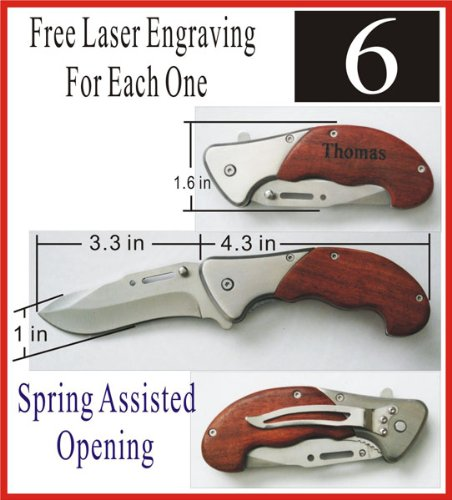 6pcs Personalized Pocket Spring Assist Knife Wedding Groomsman Gift Free Engraving
