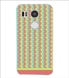 PrintDhaba Zig Zag Pattern D-1701 Back Case Cover for LG NEXUS 5X (Multi-Coloured)