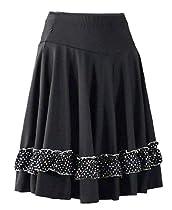 Salsa, Latin, Tango Swing Dance Skirt with Silver Trim (L002B) (Large)