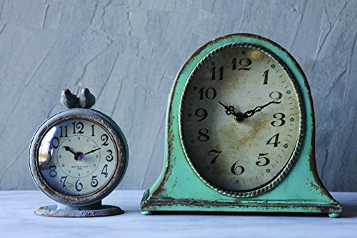 Creative Grey Pewter Table Clock with Bird 1