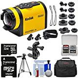 Kodak PixPro SP1 Video Action Camera Camcorder - Aqua Sport Pack with Handlebar Bike Mount + 32GB Card + Case + Tripod + Kit