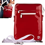 RED Luxury Non-Scratch Extra Padded Material with Soft Suede Lining and Reinforced Patent Leather Walls, Design Slim Compact Protective with Accessories Compartment ( Best Selling Carrying Case Sleeve Cover Shoulder Messenger Bag ) For Netbook Navigator NAV 9 / Netbook Navigator NAV7 / Panasonic Tough Pad A1 Tablet