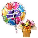 バルーンフラワー ガーデンパーティ 浮かぶバルーン(バースデー)と生花アレンジのセット 誕生日 記念日 開店祝い などに