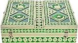 Rajwadi Aluminum Meenakari Hand Made Work Book Holder (13 cm x 10 cm x 4 cm, Green)