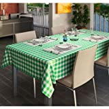 PVC Wipe Clean Vinyl Gingham Green Tablecloth Material - price per metre