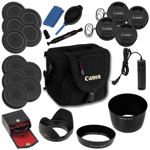 Fotodiox 25Pc Camera Gadget Bag Kit For Canon Digital Rebel Cameras With Ef-S 18-55Mm F/3.5-5.6 And/Or 75-300Mm F/4.0-5.6 Iii Kit Lenses; Includes- Camera Bag, 3-58Mm Filter Kit (Uv, Cpl, Diffuser), Et-60 Hood, Ew-60C Hood, 58Mm Type 2 Flower Hood, 4X 58M